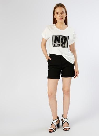 Koton Koton Kabartma Baskılı Ekru T-Shirt Beyaz